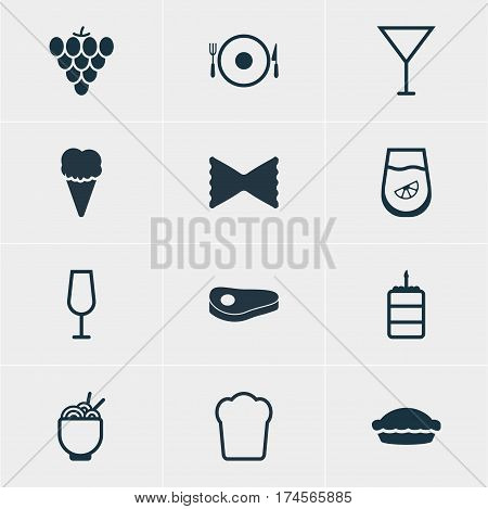 Vector Illustration Of 12 Meal Icons. Editable Pack Of Martini, Sundae, Serving And Other Elements.