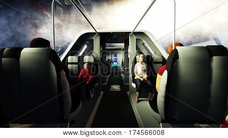 futuristic passenger bus flying in space. Transport of the future. 3d rendering