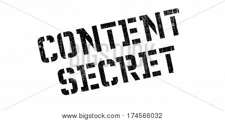 Content Secret rubber stamp. Grunge design with dust scratches. Effects can be easily removed for a clean, crisp look. Color is easily changed.