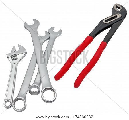 Spanners isolated image on a white background