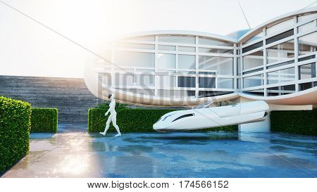 House of future. Futuristic flying car with walking woman. 3d rendering