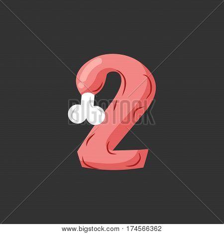 Number 2 Meat. Pork And Bone Font Two. Ham Alphabet Sign. Beef Abc Symbol