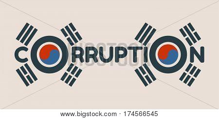 Corruption word. Vector illustration relative to Korean politic crisis. National flag elements. Billboard concept