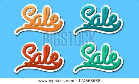 Sale hand lettering modern text style sticker