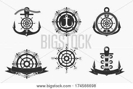 Nautical Logos Templates Set. Vector object and Icons for Marine Labels Sea Badges Anchor Logos Design Emblems Graphics sides of the world.