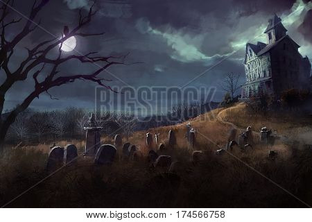 digital illustrated halloween theme with grave yard, and a house at night