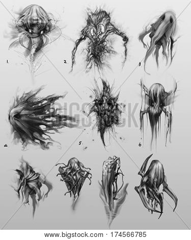 digitally created ghost like shape and form in greyscale creature monster concept designs
