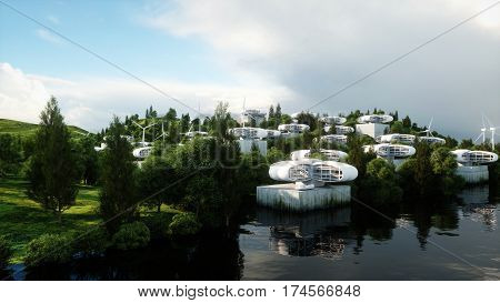 futuristic city, village. The concept of the future. Aerial view. 3d rendering