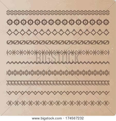 Collection of vector dividers on old paper. It can be used for design, writing, design. Vektoranya illustration.