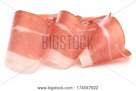 Italian prosciutto crudo or jamon. Raw ham. Isolated on white background