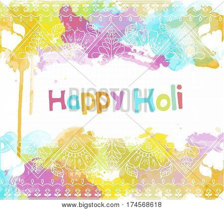 Vector abstract ethnic background with henna patterns. Stock watercolor illustration for Happy Holi festival
