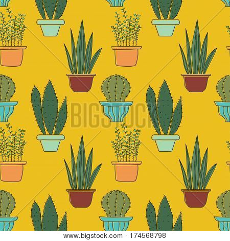 Seamless pattern with plants. Seamless vector pattern with cacti in pots. Stock vector