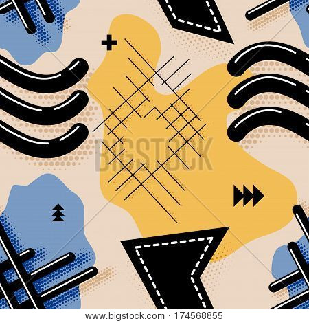 Seamless abstract pattern. Vector color seamless pattern in the style of Memphis with waves. The basis for your fabrics and desktop. Stock vector