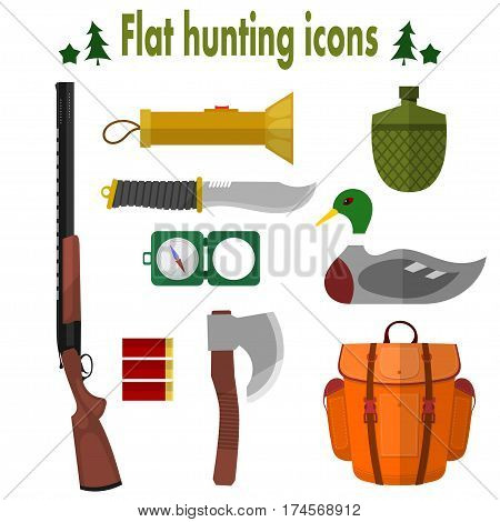 Hunting Icons. Set of vector icons of hunting. Illustration for hunting objects: knife an ax a backpack a gun a compass a cartridge a flashlight water bottle bait. Stock vector