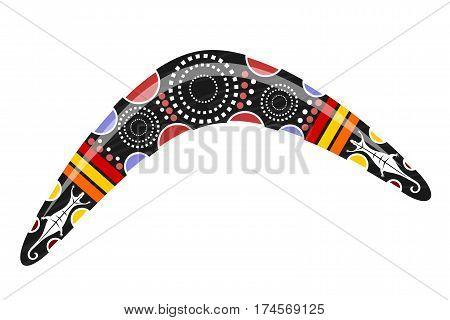 Australian boomerang. Cartoon boomerang on a white background. Vector illustration of colored boomerang Tribal lizard. Stock vector