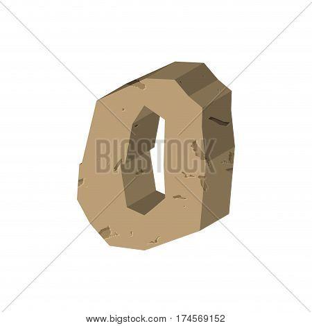 Number 0 Stone. Rock Font Zero. Stones Alphabet Symbol. Rocky Crag Abc Sign