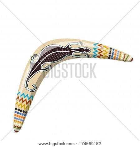 Australian boomerang. Cartoon boomerang on a white background. Vector illustration of color boomerang with Tribal lizard. Stock vector