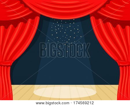 Cartoon theater. Theater curtain with spotlights beam and stars. Open theater curtain. Red silk side scenes on stage. Stock vector