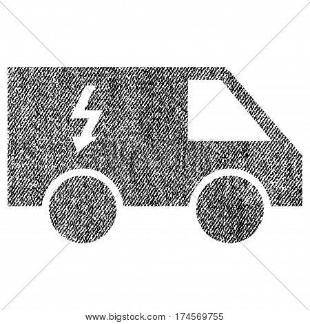 Electrical Car vector textured icon for overlay watermark stamps. Fabric black vectorized texture. Symbol with dirty design. Rubber seal stamp with fiber textile structure.