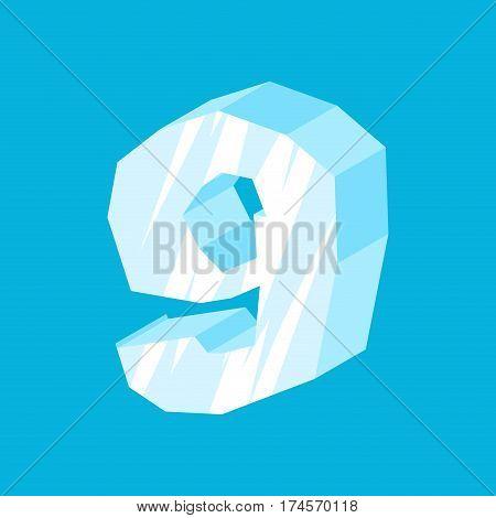 Number 9 Ice. Icicles Font Nine. Frozen Alphabet Symbol. Iceberg Abc Sign
