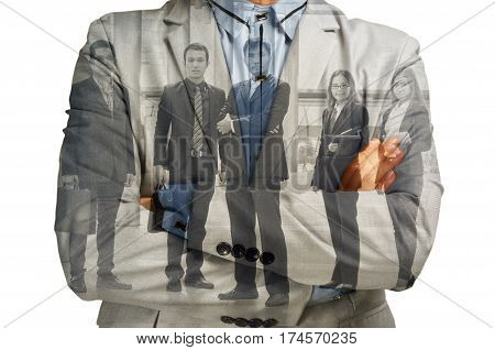 Double Exposure of Businessman and Support Team Businesspeople Consult group as Business Success Achivement administration concept.