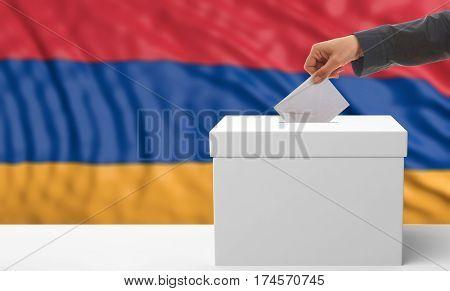 Voter On An Armenia Flag Background. 3D Illustration
