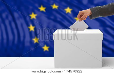 Voter On An Eu Flag Background. 3D Illustration