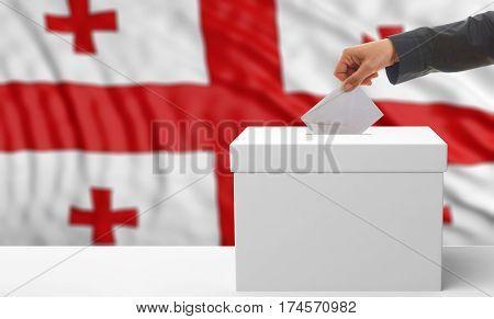 Voter On A Georgia Flag Background. 3D Illustration