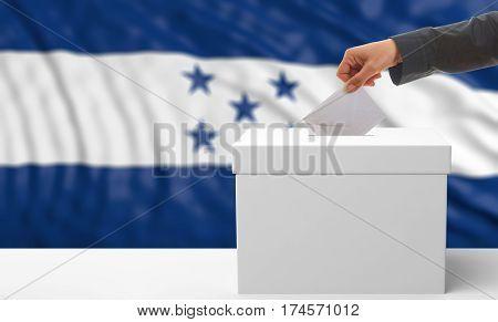 Voter On An Honduras Flag Background. 3D Illustration