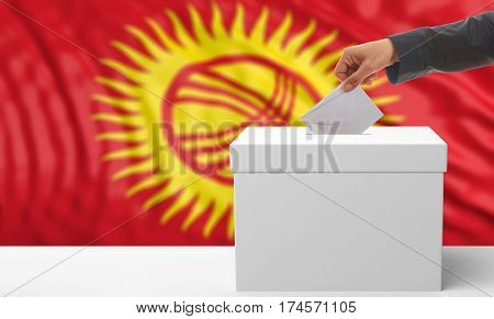 Voter On A Kyrgyzstan Flag Background. 3D Illustration