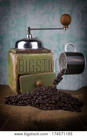 Levitating Cup And Coffee Grinder