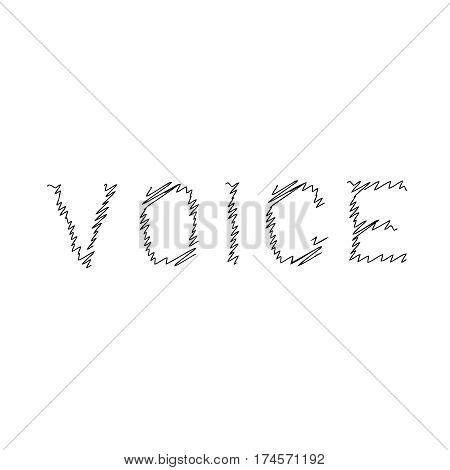 voice typography scribble line logo design with black color
