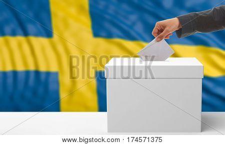 Voter On A Sweden Flag Background. 3D Illustration