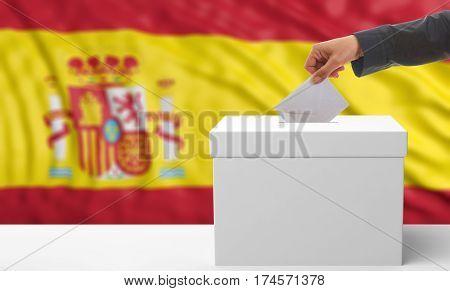 Voter On A Spain Flag Background. 3D Illustration