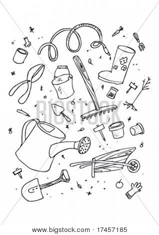 cartoon garden tool, hand drawn design set.