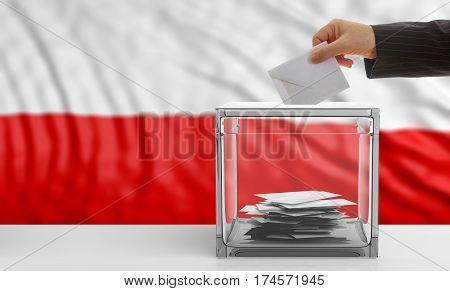 Voter On A Poland Flag Background. 3D Illustration