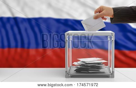 Voter On A Russia Flag Background. 3D Illustration