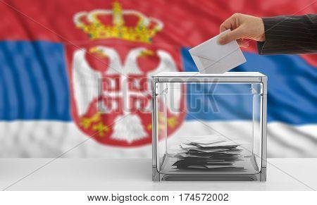 Voter On A Serbia Flag Background. 3D Illustration