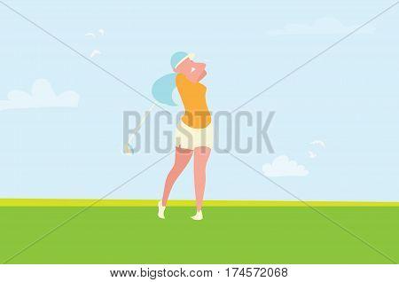 Beautiful golf girl. Female golfer. Sport game Tournament. Player teeing-off. Swing golf ball. Summertime.Sport wear. Vector illustration