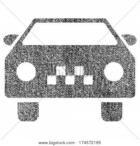 Taxi Car vector textured icon for overlay watermark stamps. Fabric black vectorized texture. Symbol with dirty design. Rubber seal stamp with fiber textile structure.