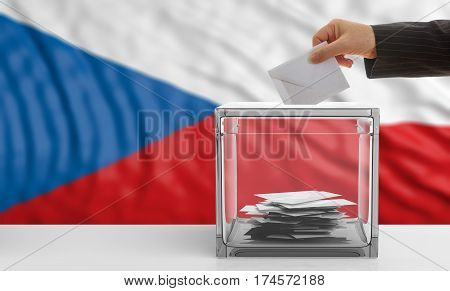 Voter On A Czech Republic Flag Background. 3D Illustration