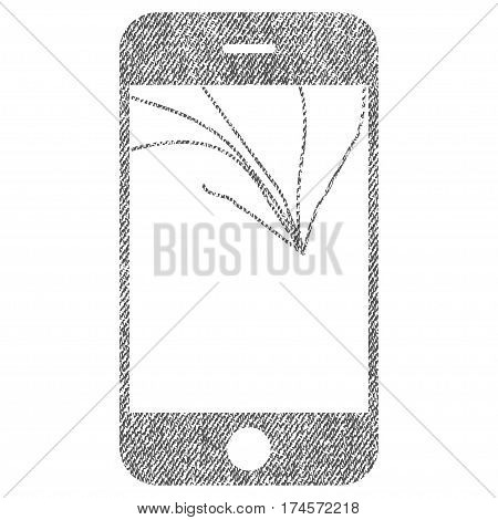 Broken Smartphone Screen vector textured icon for overlay watermark stamps. Fabric gray vectorized texture. Symbol with scratched design. Rubber seal stamp with fiber textile structure.
