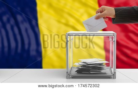 Voter On A Chad Flag Background. 3D Illustration