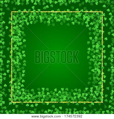 Square Saint Patricks Day background with green clover confetti. Embedded frames of shamrock leaves and golden glitter. Template for greeting card design, banner, flyer, party invitation.