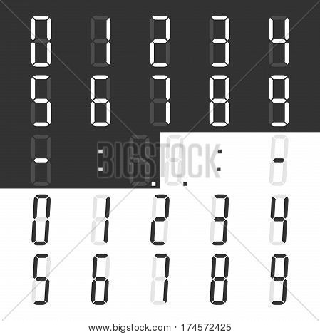 Digital display numbers and symbols set for calculator or clock. Regular and italic styles. Flat design. Vector illustration. EPS 8 no transparency