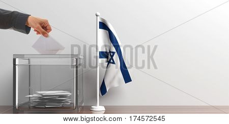 Ballot Box And A Small Israel Flag. 3D Illustration