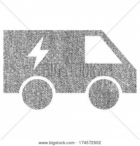 Electric Power Car vector textured icon for overlay watermark stamps. Fabric gray vectorized texture. Symbol with dirty design. Rubber seal stamp with fiber textile structure.