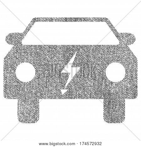 Electric Power Car vector textured icon for overlay watermark stamps. Fabric gray vectorized texture. Symbol with scratched design. Rubber seal stamp with fiber textile structure.