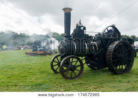 Corwen Wales UK - September 17 2011: Steam powered traction engine at a vintage vehicle and steam rally in North Wales