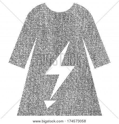Electric Power Lady Dress vector textured icon for overlay watermark stamps. Fabric gray vectorized texture. Symbol with dust design. Rubber seal stamp with fiber textile structure.